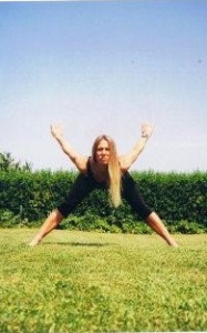 Beverley Brown doing yoga