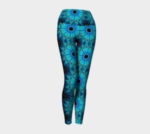 image of blue daisy yoga leggings.