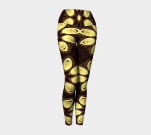 image of golden petals yoga leggings