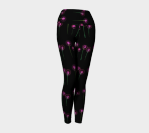 image of pink blossoms on black yoga leggings