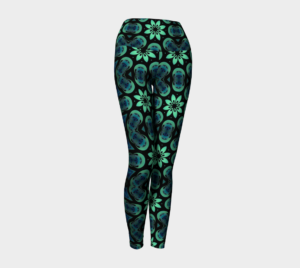 image of green, blue and black symmetry yoga leggings