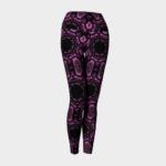 image of pink and black mosaic yoga leggings