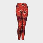 image of red flower yoga leggings