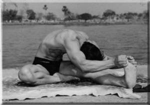Bikram Choudhury doing Head to Knee with Stretching Pose
