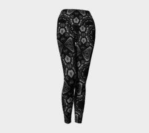 image of black and white mosaic yoga leggings