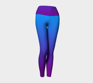 image of sky blue pink yoga leggings