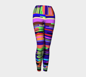 image of bright striped yoga leggings
