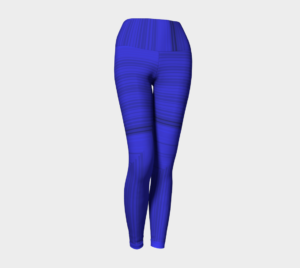 image of royal stripe yoga leggings