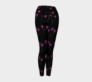 image of pink blossoms on black yoga leggings