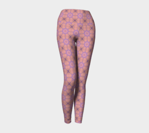 image of peaceful in pink yoga leggings