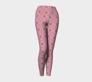 image of peaceful in pink yoga leggings