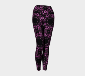 image of pink and black mosaic yoga leggings