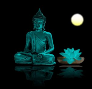 image of buddha with lotus flower in moonlight